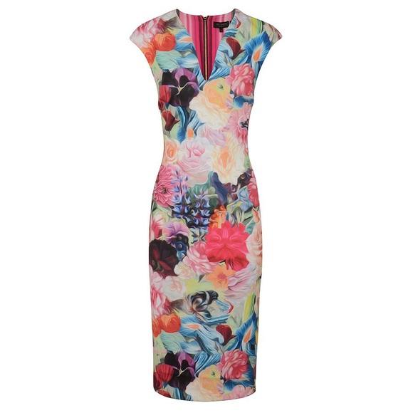 f1c27ddc22426 Ted Baker Odeela Floral Swirl Bodycon Dress US 10.  M 5b82d9e21070eede63fcb036